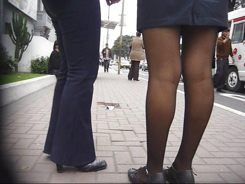 Spy Student Flight Attendant in Black Pantyhose.